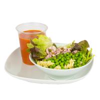 Soupe (légumes du soleil) avec saladette (boulgour poulet emmental balsamique huile d'olive)