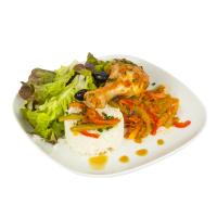Plat (Emincé de volaille ratatouille riz basmati) avec saladette